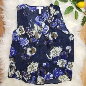 Leith Wrap Front Tank Blouse Navy Floral